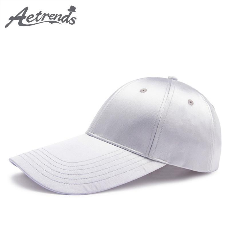 AETRENDS 2018 New Men s Hats Long Visor Satin Baseball Cap Women Silver  Tennis Snapback Cap Hat Branded Baseball Caps Z 6583 Trucker Caps Flat Bill  Hats ... 383e1d73c967