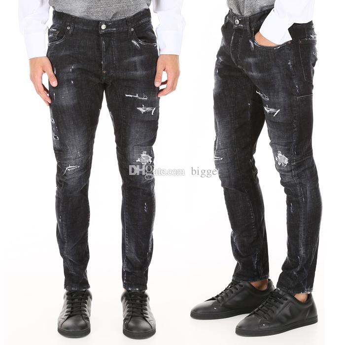 cc6cdd33 2019 Black Distressed Jeans Man Slim Fit Denim Pants Skinny Cowboy Fading  Wash Trousers Mens From Bigget, $45.69 | DHgate.Com