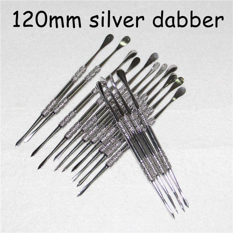 Strumenti dabber 120 millimetri strumenti ego cera atomizzatore cig argento dab strumento titanio strumento dabber erba secca vaporizzatore penna strumento dabber libero DHL