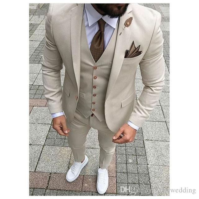 Slim Fit Men Suits for Wedding Tuxedos Jacket+Pants+Vest Costume Homme Groomsmen Best Man Formal Suits Prom Wear Blazer Terno Masculino