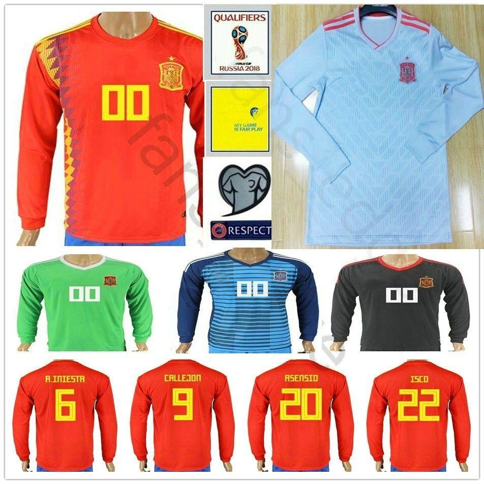 best sneakers ed3a2 07776 2018 Spain World Cup Long Sleeve Soccer Jerseys 6 A. INIESTA CALLEJON 20  ASENSIO ISCO SERGIO RAMOS PIQUE Custom Espana Football Shirt
