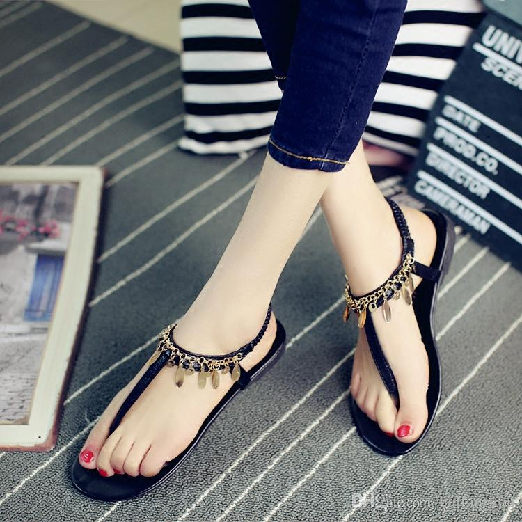 2018 Sexy Bohemia Women Shoes Black Flatforms Leather Sandals With Chains Summer Cheap Elastic Band Shoes