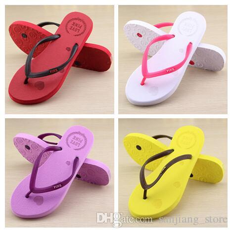 1bc46c5110b6d Love Pink Women Summer Sandals Colorful Beach Flip Flops Ladies Candy Color  Letter Printed Slippers Bathroom Casual Rubber Sandals 36-39 New Online  with ...
