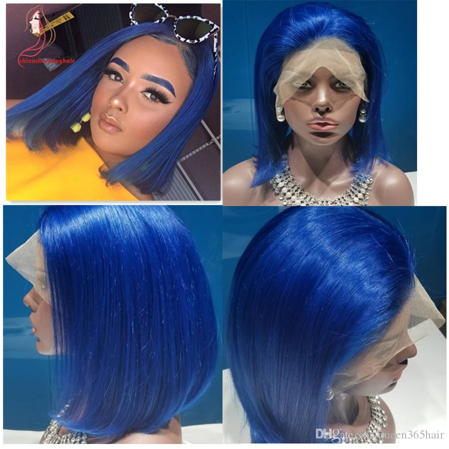 Brazilian Human Hair wig blue Bob style lace Wigs Virgin human colored blue short bob hair style