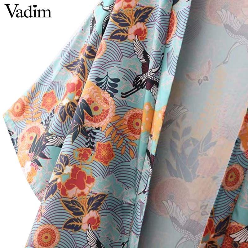 Vadim vintage crane floral pattern kimono coat open stitch three quarter sleeve outerwear ladies streetwear loose tops CT1637
