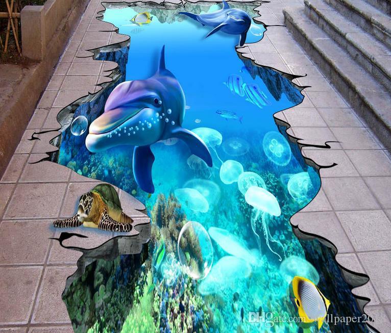 HD большой 3D трещины морские дельфины подводный мир открытый живопись виниловые обои