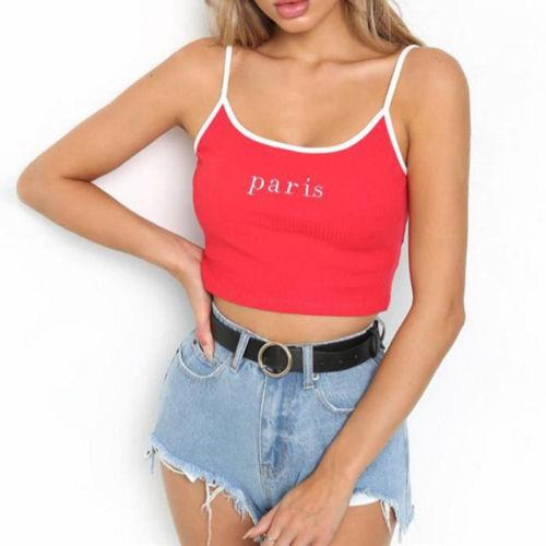 e13f0237d330d8 Summer Fashion Paris Cami Casual Letter Printed Cropped Camisole Black Red Strap  Crop Top Street Bralet Top D116 Online with  28.2 Piece on Mobile03 s Store  ...