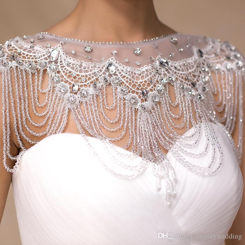 Hochzeit Bolero Luxus kurze Perlen Applikationen Kristalle Hochzeit Wrap Jacke für Abend Prom Mode Frauen Zubehör