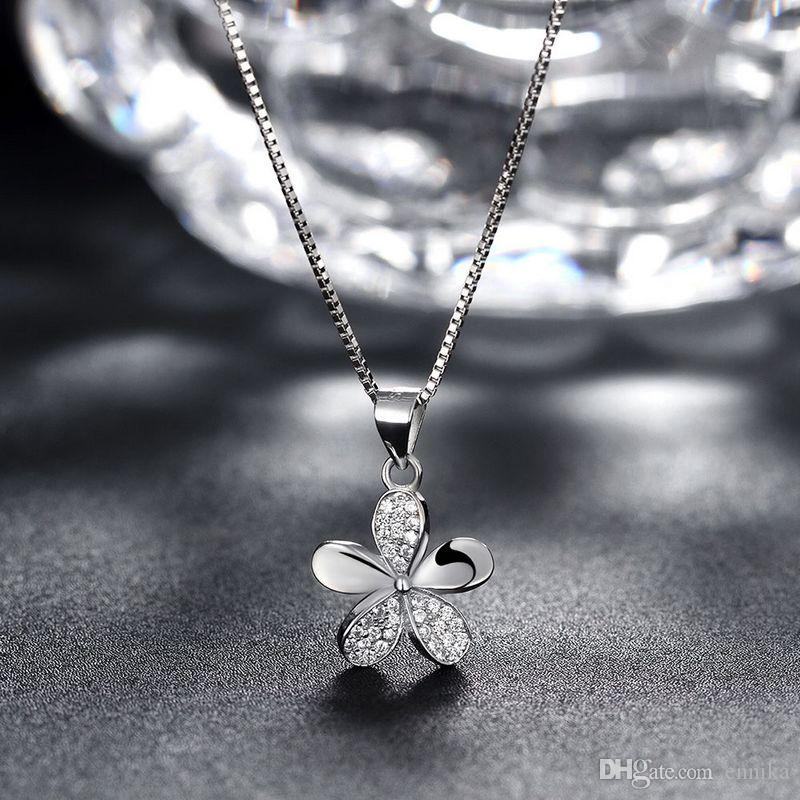 Sterling Silver 925 Chains Pandent Necklace Lady Party Jewelry Pure Silver Pentalobe Pendant Necklace Good Quality n064