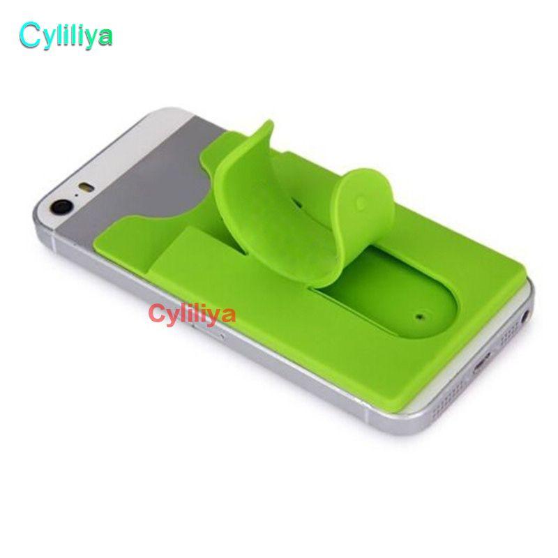 Cartera de silicona Tarjeta de crédito Etiqueta de bolsillo en efectivo Etiqueta adhesiva adhesiva adhesiva de 3M Porta tarjeta de crédito Estuche para gadget para iPhone Samsung Teléfono móvil