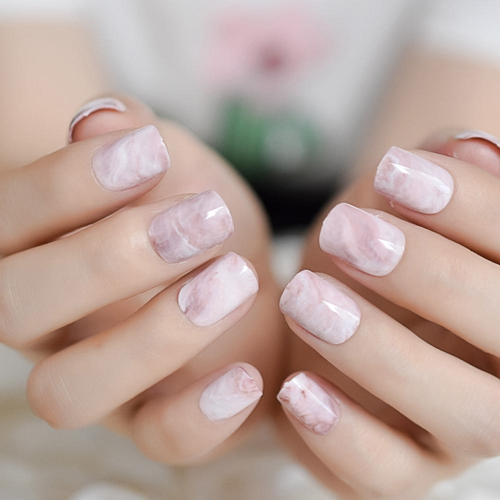 24Pcs Pre,designed Fake Nails Short Pink Marble False Nail Full Cover  Square Elegant UV Gel Polish Manicure Salon Product Z960