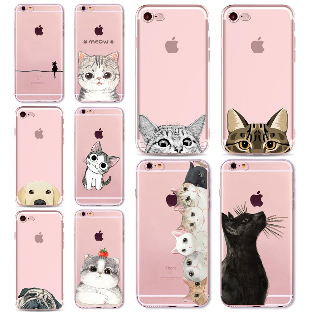 sports shoes dabf8 f1e59 Cute Cat Dog Case Cover For Apple iPhone 7 8 7Plus 6 6s Plus 6Plus 5 5s SE  Transparent Soft Silicone Cell Phone Cases Bag Capa