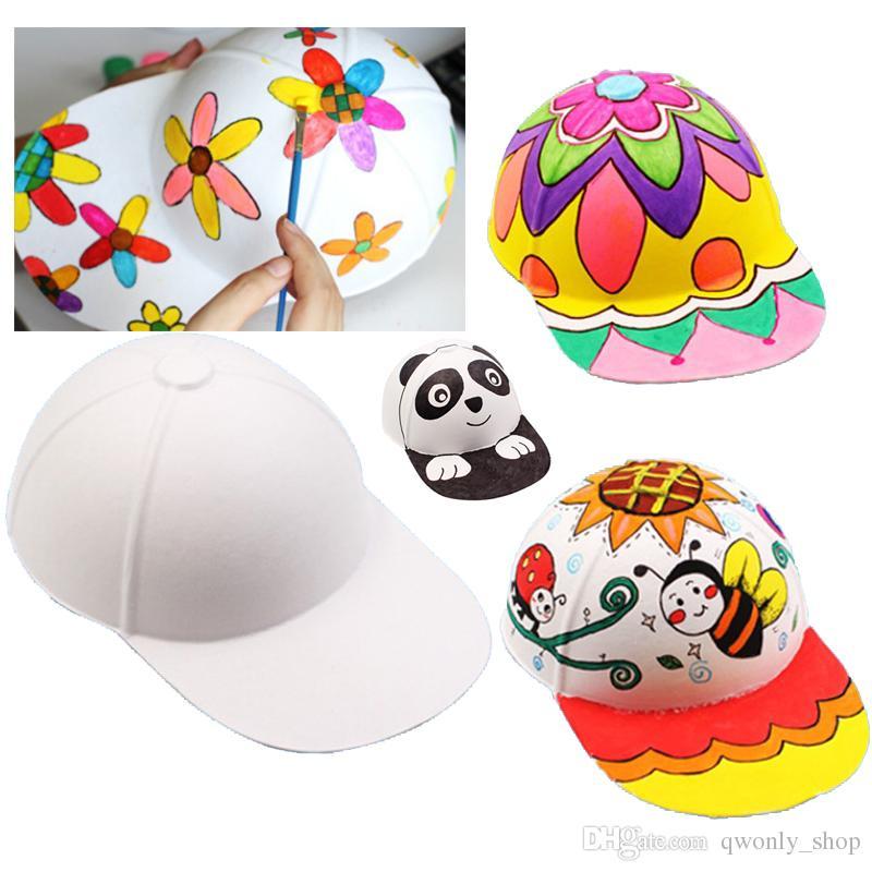 2019 DIY Blank Paper Hat Children White Graffiti Baseball Kids Baby Kindergarten Educational Craft Party Gift For Halloween Christmas Birthday From