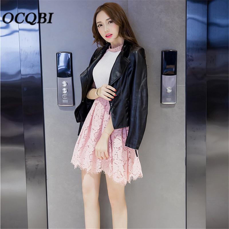 cheap for discount 38f0f 25caa Capispalla Primavera Donna PU Moto Parka Pink Bomber Crop Giacca in pelle  nera stile coreano