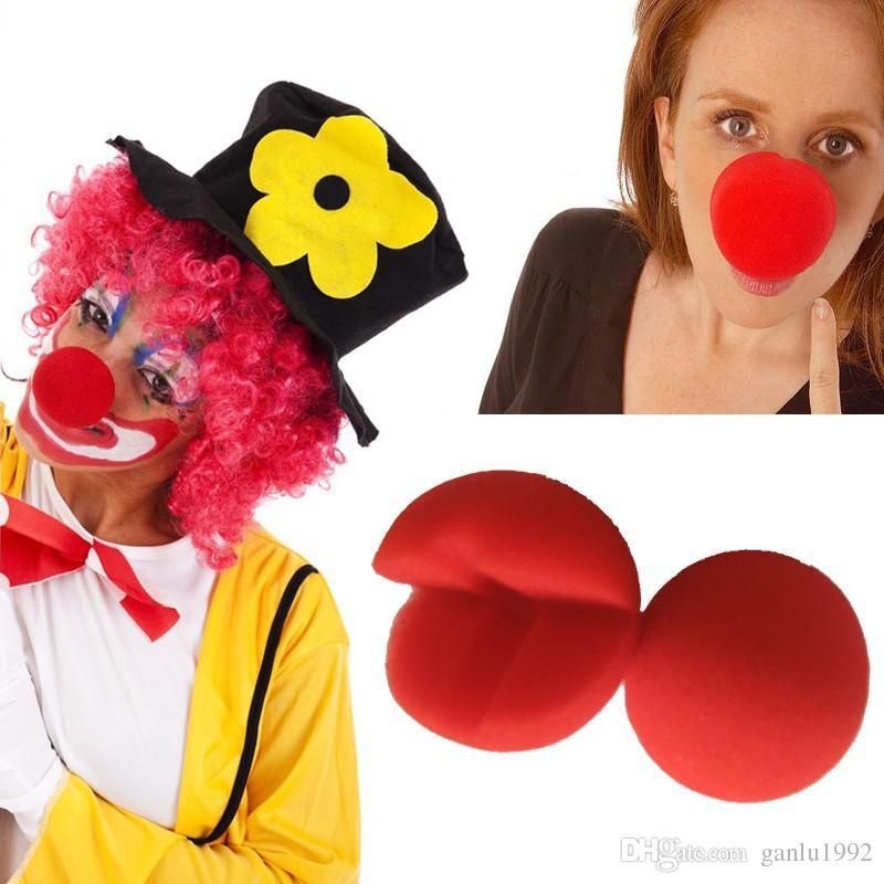 Red Nose Ball Sponge Dress Up Puntelli Trucco magico Nasi Decorazione Buffoon Halloween Masquerade Cosplay Giocattoli divertenti di alta qualità 0 75cn Z