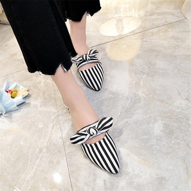 La Maxpa Female Flat Slides Half Slippers Lady Black White Striped Shoes  Women Flats Slippers Bow Mules Shoes Summer Size 35 40 Boots For Women  Black Boots ... 6a5b81c7e598