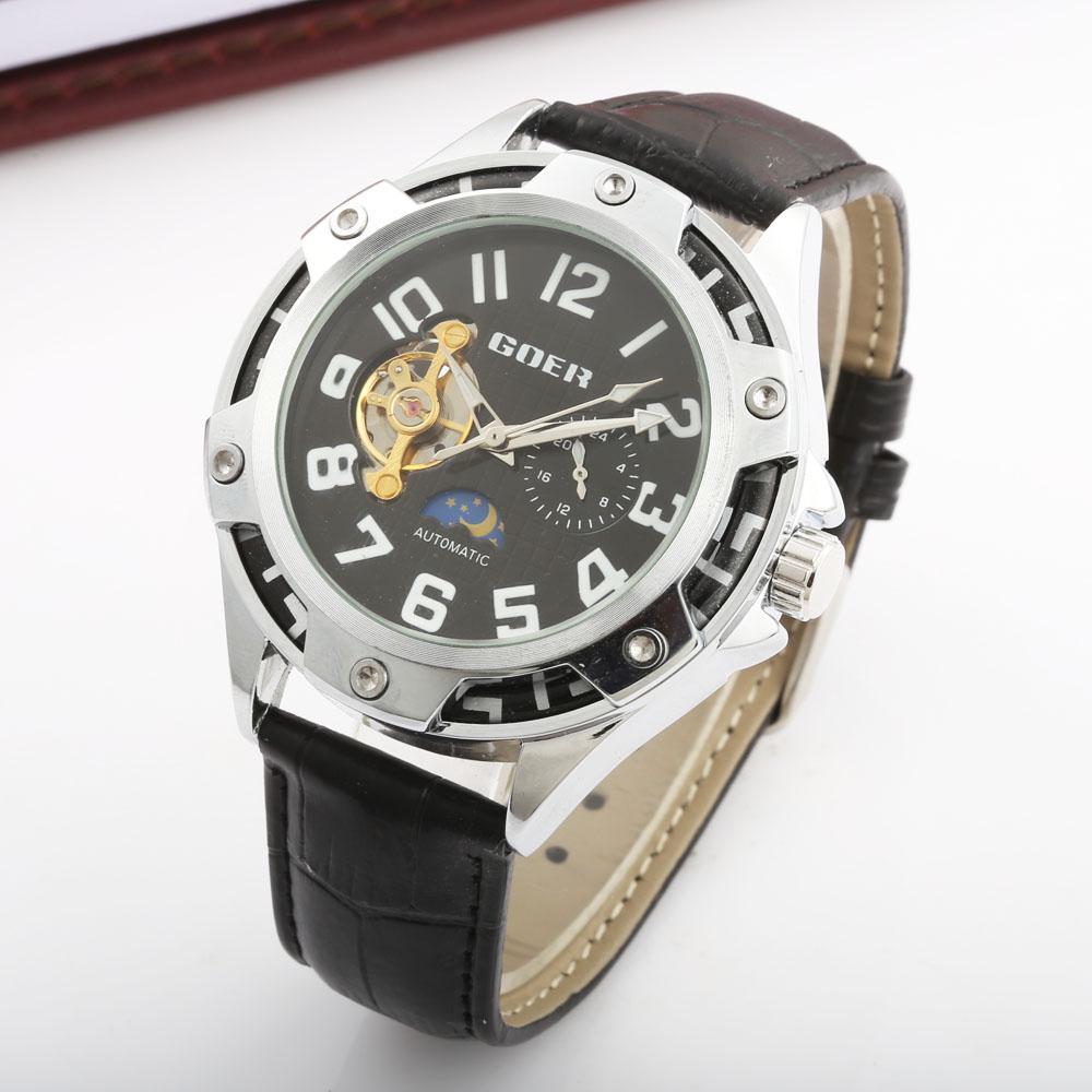 Goer De Cuero Relogi Lujo Automático Impermeable Saat New Hombres Marca Correa Hombre Relojes Reloj Mecánico Para ZPkXiuO