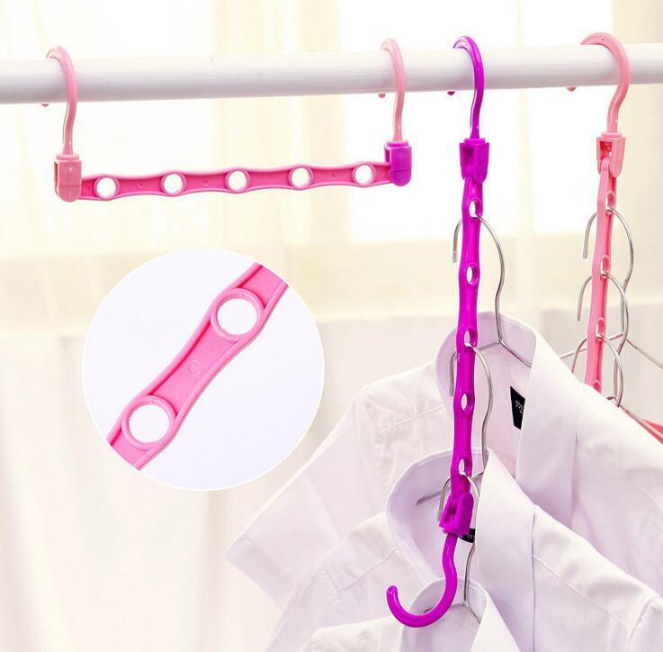 الفضاء التوقف البلاستيك الملابس هوك رف حامل السحر الملابس الشماعات خزانة المنظم هوكس رفوف لون عشوائي