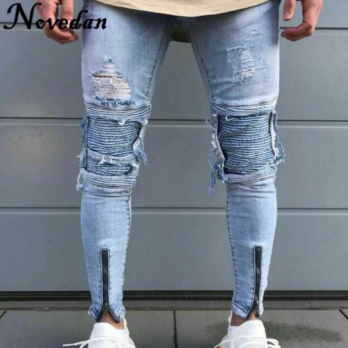 2019 Mens Ripped Jeans Runway Slim Racer Scratched Male Biker Jeans Fashion  Jogger Hiphop Brand Swag Hole Skinny For Men From Cardigun,  30.89    DHgate.Com f6d62b154c