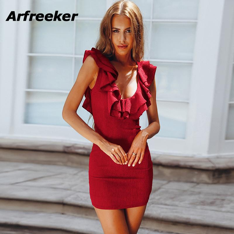 7f81b6cd0eb7 2019 Arfreeker Sexy Summer Dress 2018 For Women Butterfly Sleeve Girls Short  Red White Green Blue Dresses Party Dress Clothing New From Insightlook