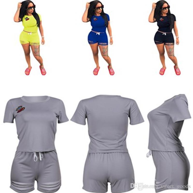 745f8c54c Pantaloni Donna Tuta da Ginnastica Moda Estate Casuale Abbigliamento  Sportivo 2 Pezzi per Jogging Sportiva Fitness Manica Lunga Camicie ...