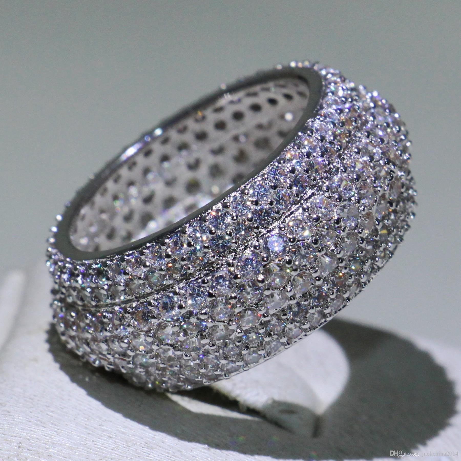 Atemberaubende Luxus Schmuck Victoria neue Ankunft einzigartige Desgin 925 Sterling Silber pflastern weißen Saphir CZ Diamant Edelsteine Frauen Kreis Ring