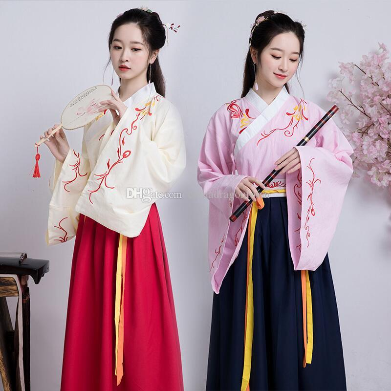 5d398887fc9e 2019 Chinese Ancient Clothing Female Performance Outfit Vintage Embroidered  Ethnic Costume Classical Elegant National Style Traditional Hanfu From ...