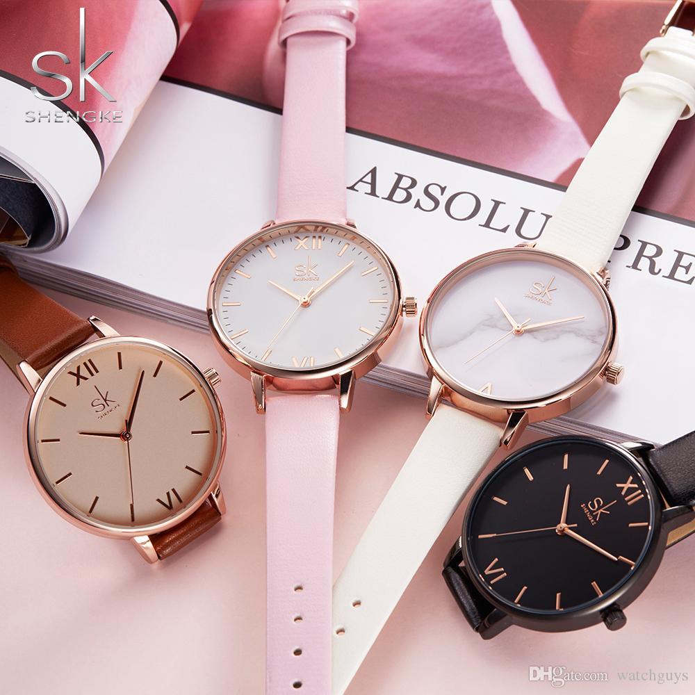 8f60d17dba1 Compre Shengke Mulheres Relógios De Luxo Da Marca Relógio De Pulso De Couro  Mulheres Assista Moda Senhoras Genebra Relógio De Quartzo Relogio Feminino  Novo ...