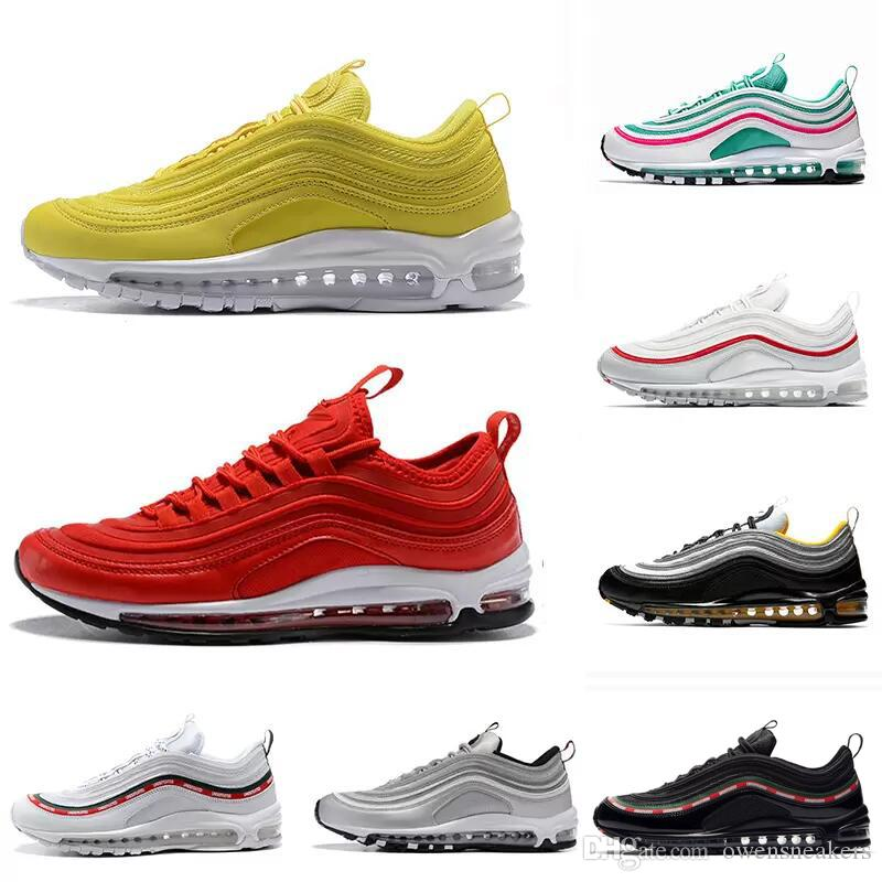 innovative design 307ec 0c02a 2018 South Beach Gym Red Yellow 97 Running Shoes Undftd Triple White Black  Og Silver Bullet Men Trainer 97s Women Sports Sneakers 36-45 1 Online with  ...