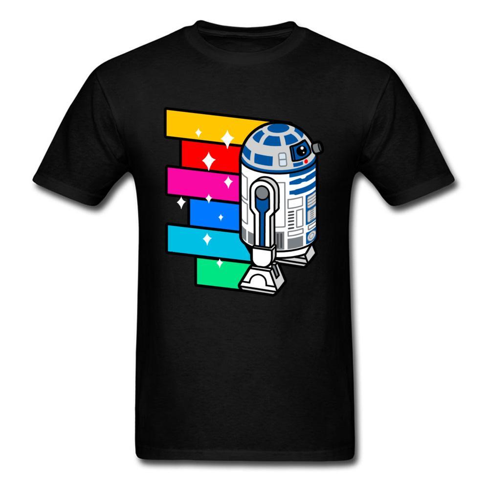 db25208188 Compre Pop Art R2d2 Zoom Desconto Por Atacado T Shirt 2018 Homens Personalizados  Camiseta Hip Hop Robô Colorido Impresso Adulto Tshirt Dos Desenhos Animados  ...
