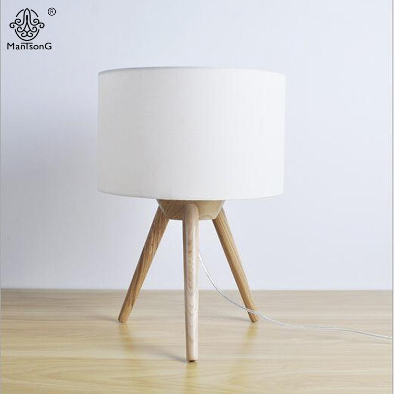 2019 Nordic Style Tripod Table Lamp Wooden Metal Body Fabric