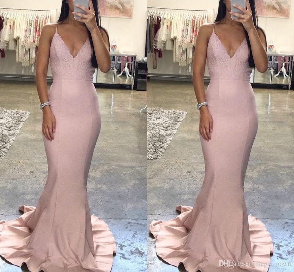 2018 Sexy Long Mermaid Cheap Prom Dresses Long Backless Lace Applique Deep V Neck Spaghetti Straps Formal Dresses Evening Gowns Elegant