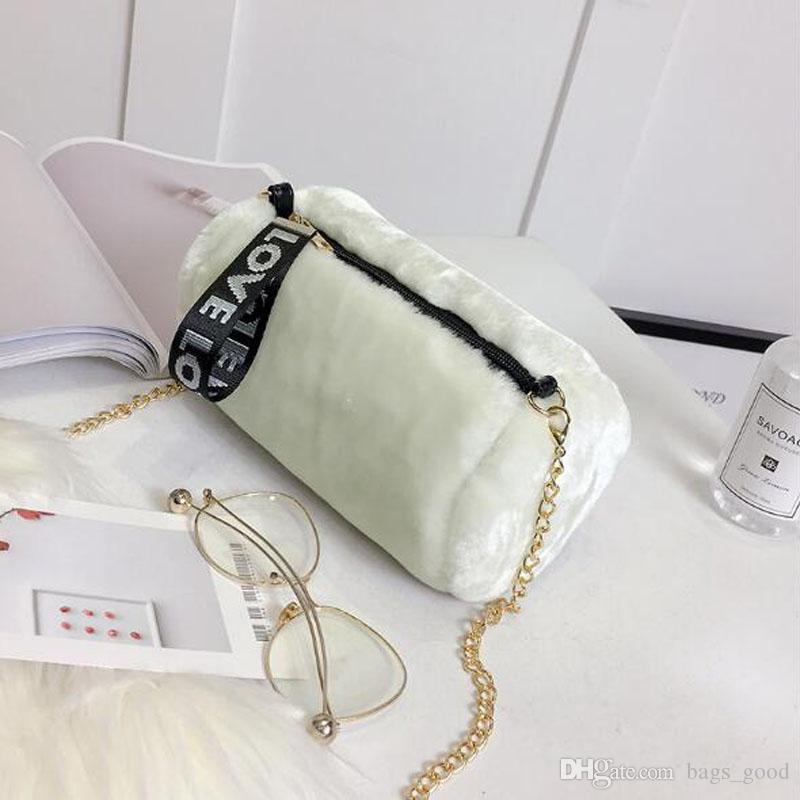 Women's bag Korean new fashion plush cylinder small bag with chain clip shoulder bags Felt Messenger bag