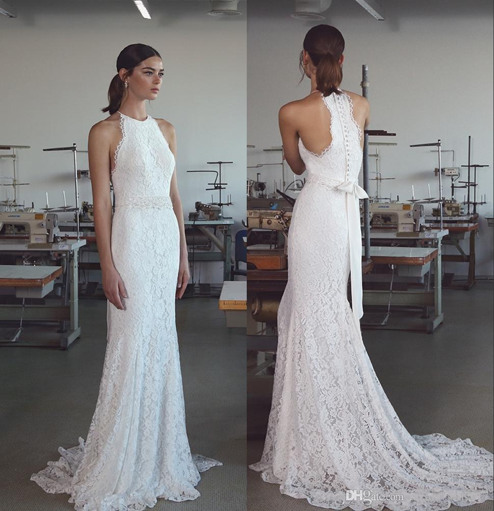 af5b48352551 Vintage 2018 Lihi Hod Mermaid Wedding Dresses With Halter Neck Sweep Train  Fully Classy Elegant Lace Trumpet Beach Bridal Gowns Inexpensive Wedding  Dresses ...