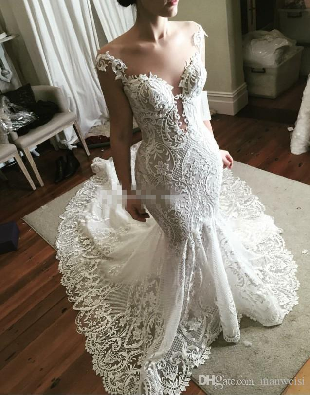 2018 Mermaid Wedding Dresses Full Applique Tulle Bridal Gowns Illusion Neck Sweep Train Wedding Dress With Covered Button Back