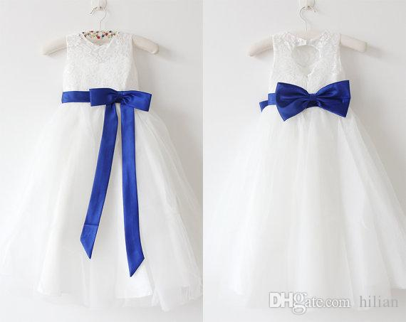d89c512353f Flower Girl Dress Little Girl Princess Royal Blue Sash Lace Skirt  Bridesmaid For Formal Wedding Occasion Wish Sash Princess Bow Brithday  Beautiful Dress For ...