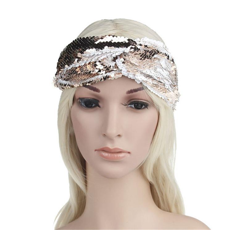 Headband Reversible Elastic Sequin Girls Shiny Hairband Hair Accessories Women Elastic Mermain Hair Bands Head Wrap T1C205