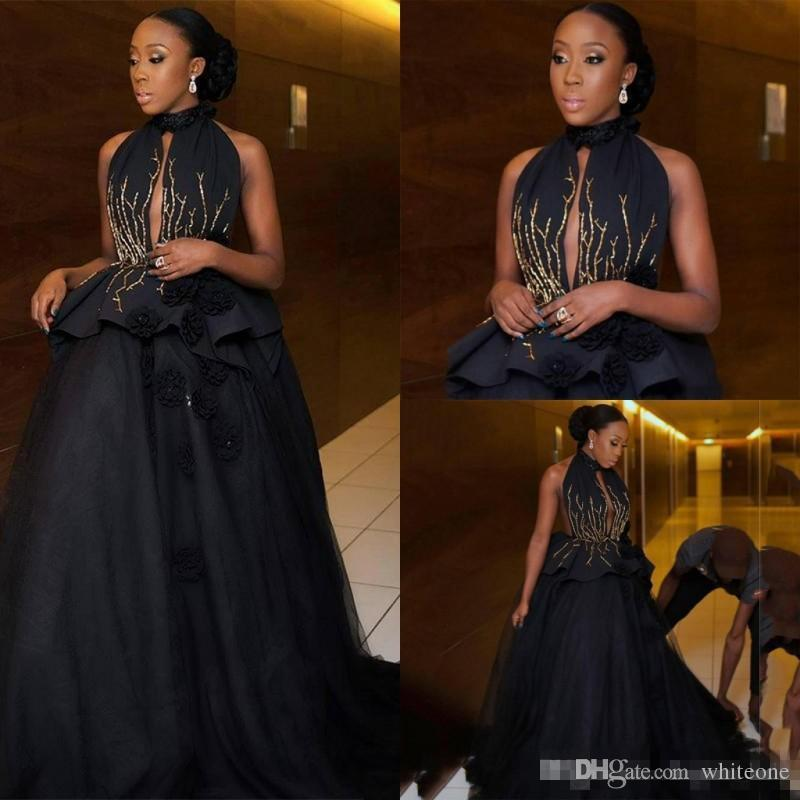 High Neck Keyhole Neck Black Ball Gown Prom Dresses 2018 Gold Beaded
