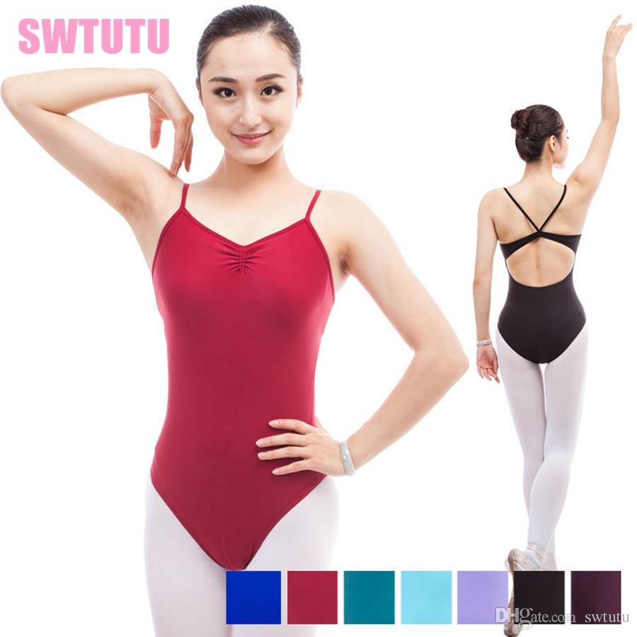 ca9159afe1f8 Women Burgundy Dance Leotard Backless Sleeveless Adult Practicing ...