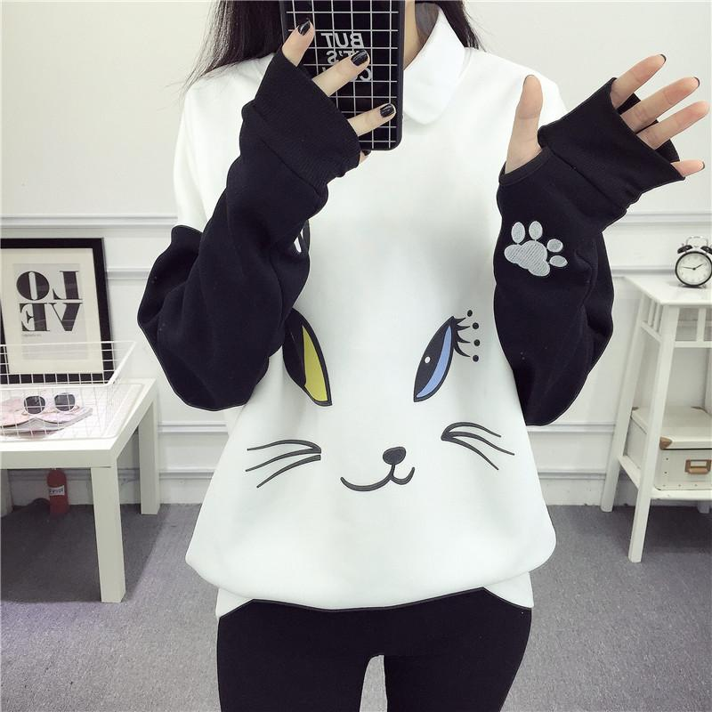 Pullovers Lovely Cartoon Hoodies Female Kawaii Sleeved Women 'S Sweatshirts Leisure Sudaderas Mujer Autumn Winter Cute Wild Tracksuits