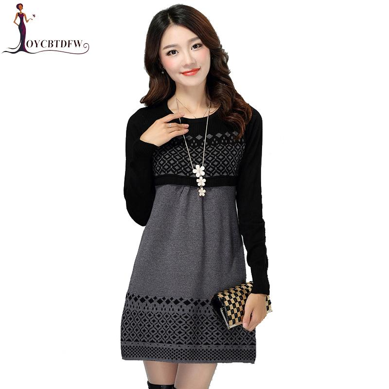 4609e2a619 2019 Women Autumn Winter Dress 2018 Cotton Knitted Plus Size Long Sleeve  Casual Dress One Piece Warm Cotton Sweater S 3XL DD964 From Edmund02, ...