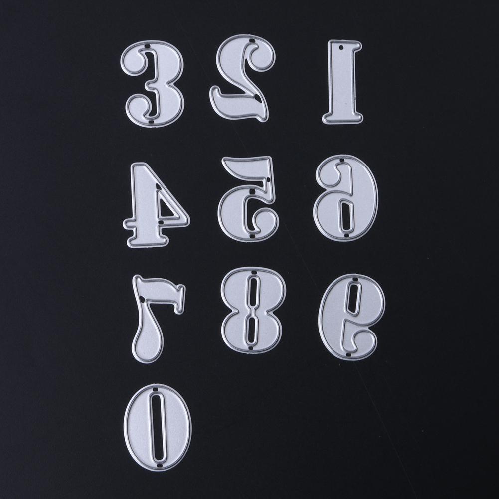 10 Adet / takım Numaraları Metal Kesme Ölür Şablonlar DIY Scrapbooking Ölür Metal Albümü Dekoratif Kabartma Kağıt Kartları Zanaat Ölür