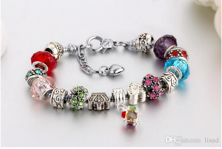20+3cm Crystal Glass Beads Silver Crown Charms Bracelets,Adjustable 925 Sterling Silver Plated Snake Chain with Nice Loose Beads