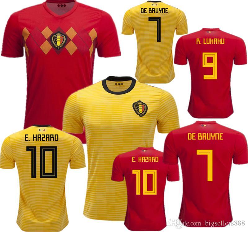 2d7783e4f64 2019 HAZARD LUKAKU Soccer Jersey Belgium Home Red 18 19 VERMAELEN DE BRUYNE  NAINGGOLAN 2018 World Cup Belgium Away Yellow Football Shirt MERTENS From  ...