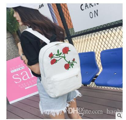 2019 Brand Women S Backpack Floral Rose Print Bag Large Capacity Teenagers  School Backpacks For Girls Bag Canvas Bag Fashion Knapsack From Haohi a1ceaca218aa0