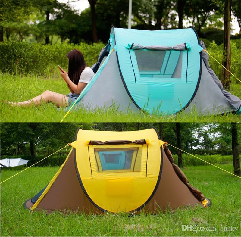 Outdoor Zelte Vollautomatische Öffnung Instant Portable Strand Zelt Strand Shelter Wandern Camping Familie Zelte 2-4 Personen