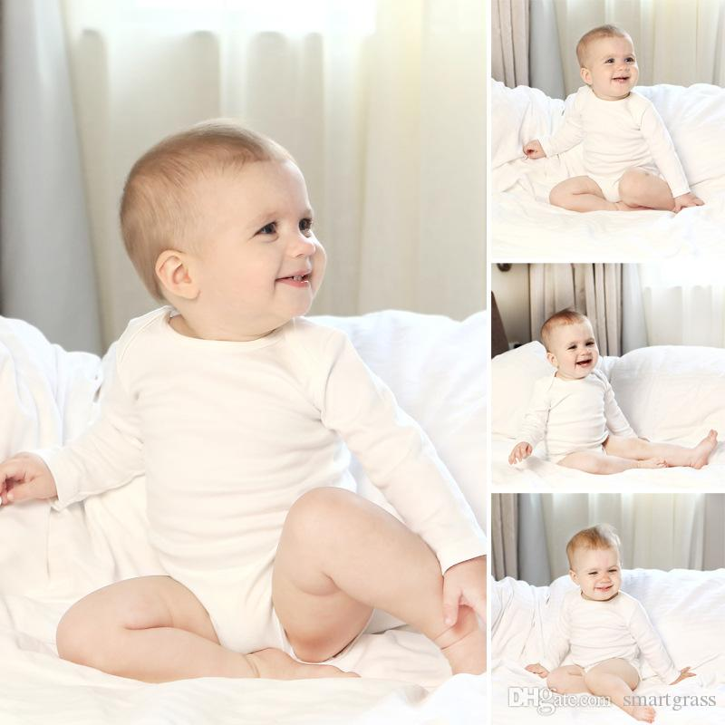 49ba916f7248 2019 Newborn Baby Rompers Pure Cotton Cheap Baby Clothes White Long ...