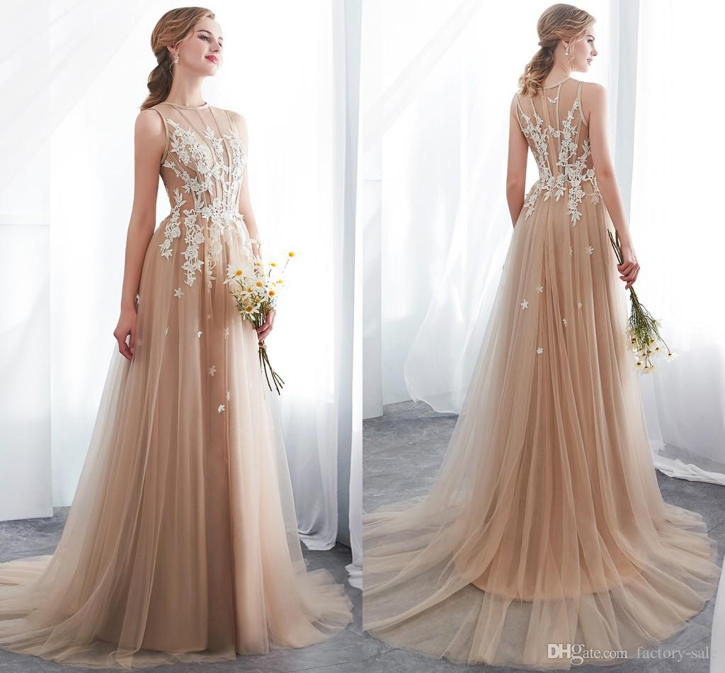 f6e38e5023 2019 New Arrival Champagne Prom Dresses A Line Lace Applique Sheer Neck  Tiered Tulle Elegant Forma Dresses Evening Wear Cheap CPS1009 Celebrity Prom  Dresses ...