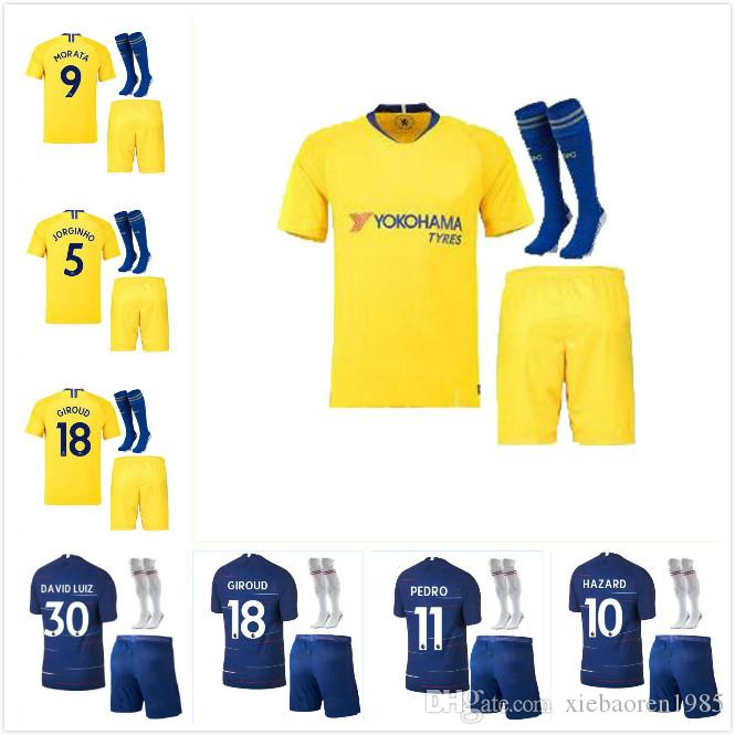 best website 78bdd ef50d 2018 2019 Chelsea home away kit soccer jersey 18 19 MORATA FABREGAS OSCAR  HAZARD MIAZGA WILLIAN TERRY DIEGO COSTA football shirt