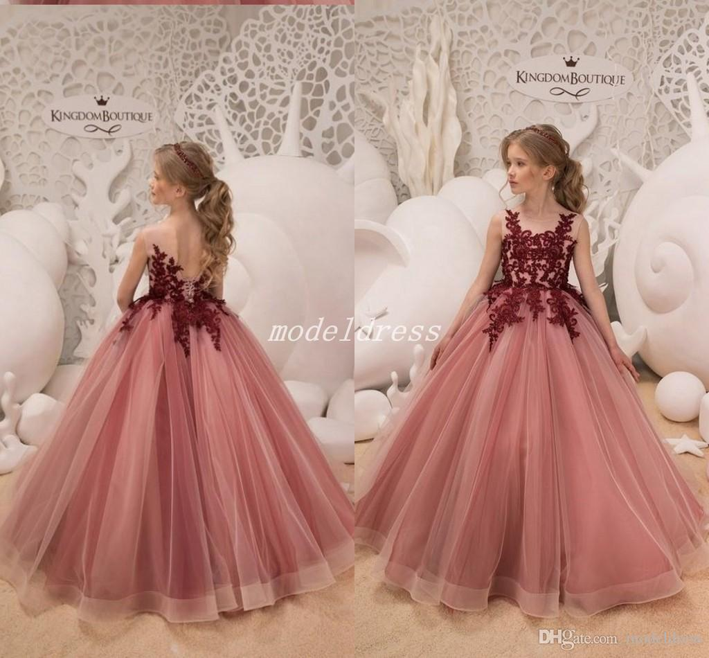 83c3dcbd2954 2019 Princess Coral Ball Gown Girls Pageant Dresses Sheer Jewel Neck  Burgundy Appliques Child Birthday Party Gowns Flower Girl Dress Flower Girls  Dresses ...